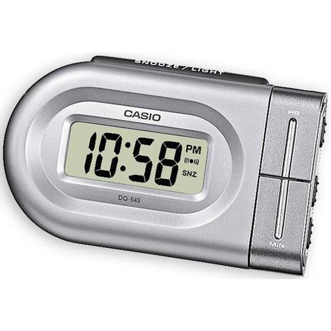 Casio Digital Beep Alarm Clock - Silver Analog Luminous Hand DQ543-8 Thumbnail 1