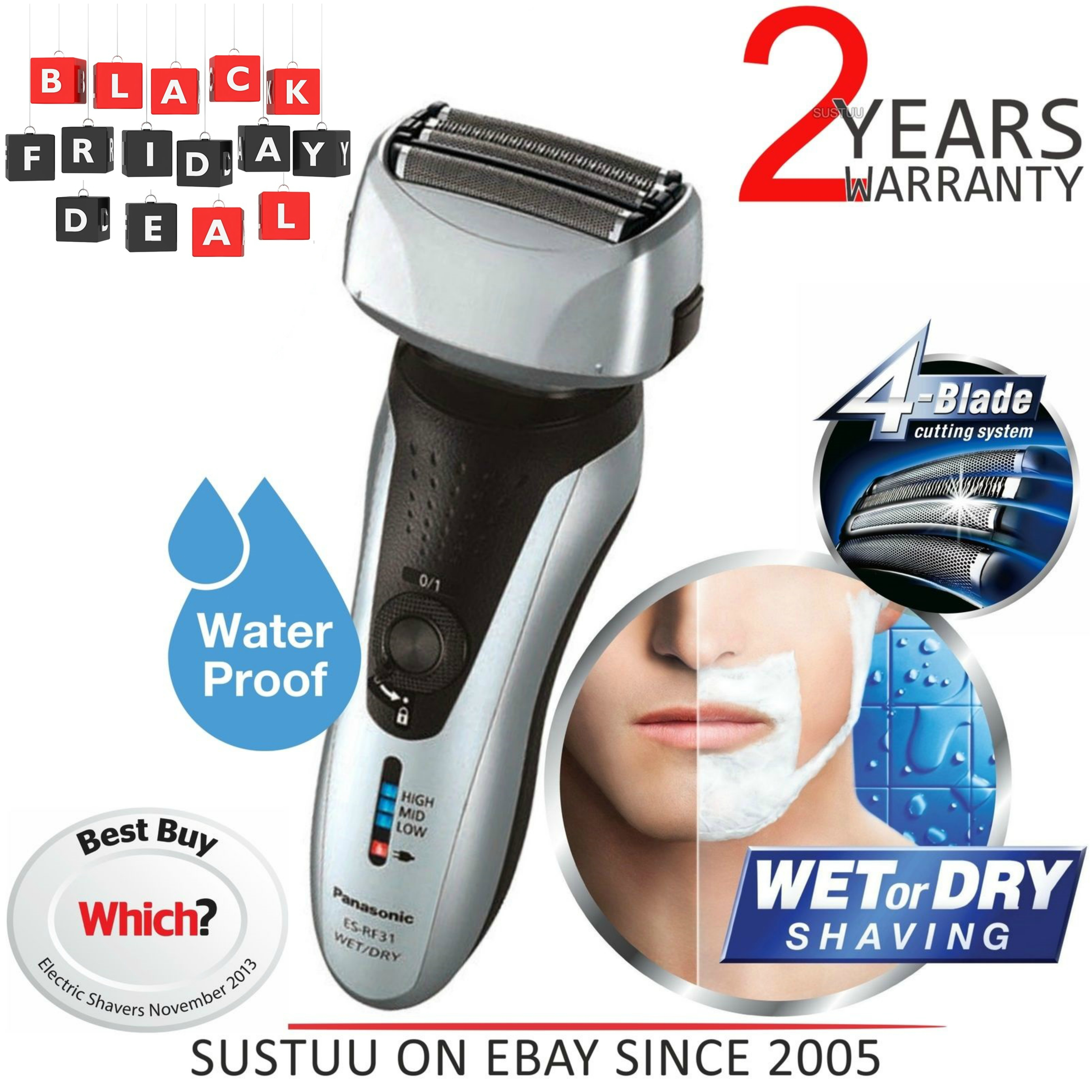 Panasonic ESRF31S 4 Blade Wet/Dry Men's Shaver Trimmer?Rechargeable?Washable?NEW