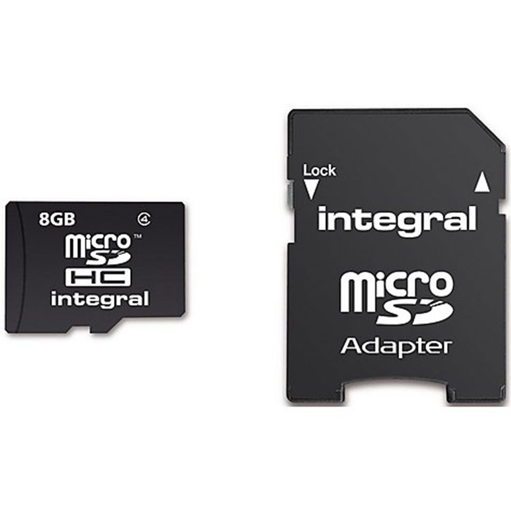 Integral Micro SD Card 8GB With 5 Year Warranty & SD Adapter-Class 4 MICROSD8GB