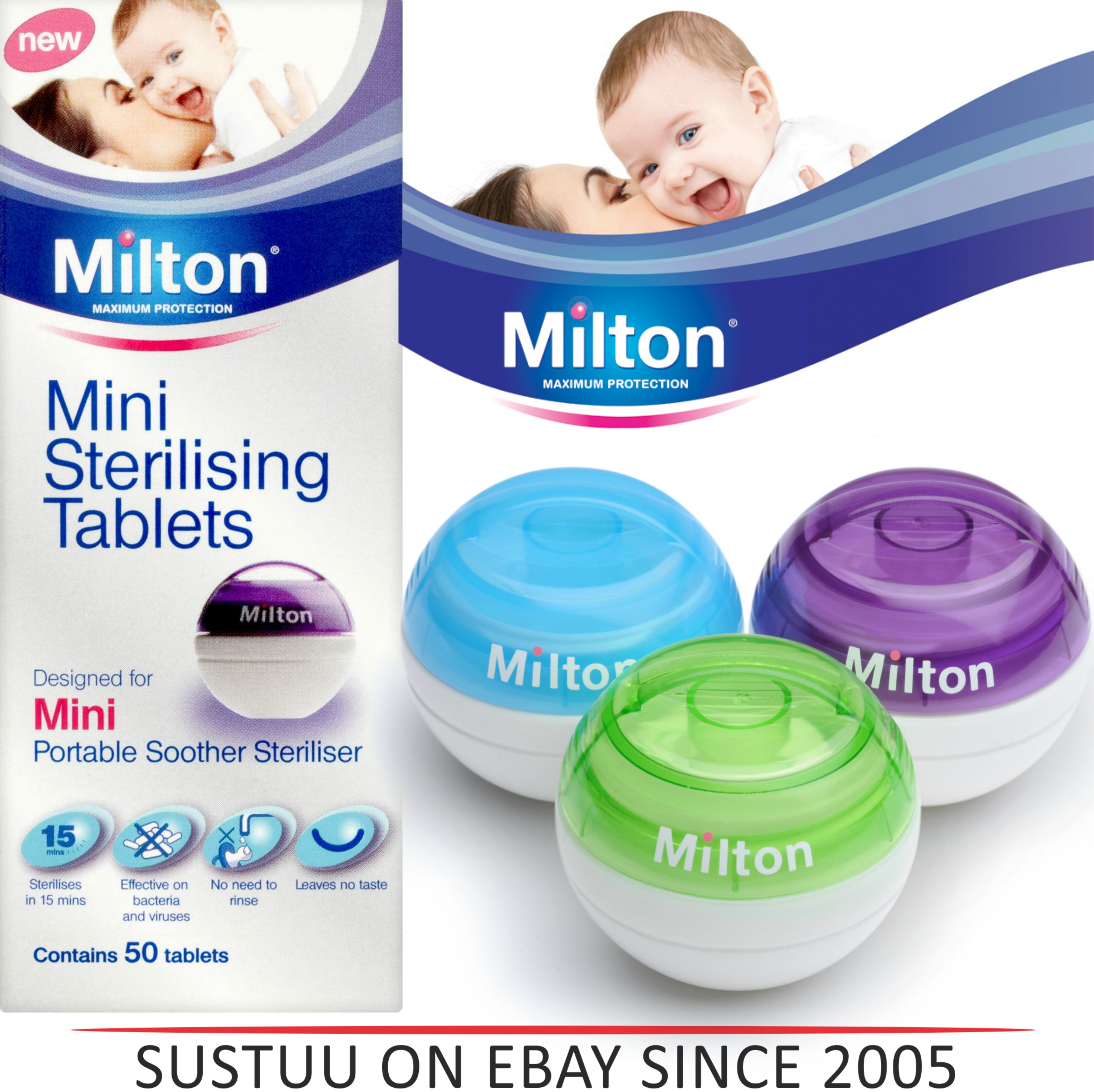 Milton Mini Portable Soother Steriliser or 50 Tablets Starting From £3.99