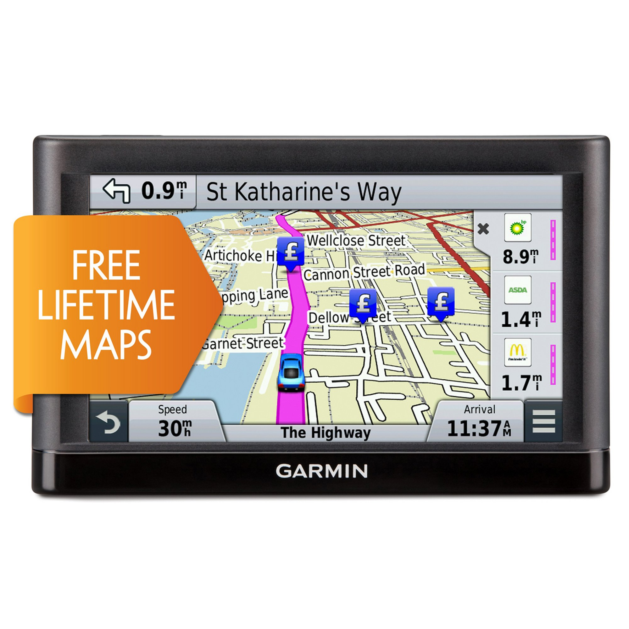 Garmin Nuvi Lm Gps Free Lifetime Uk Western Europe Maps Includes Travel Pack Thumbnail