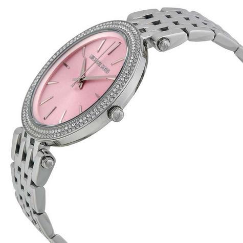Michael Kors Darci Pave Salmon Pink & Silver Tone Ladies Designer Watch MK3352 Thumbnail 2
