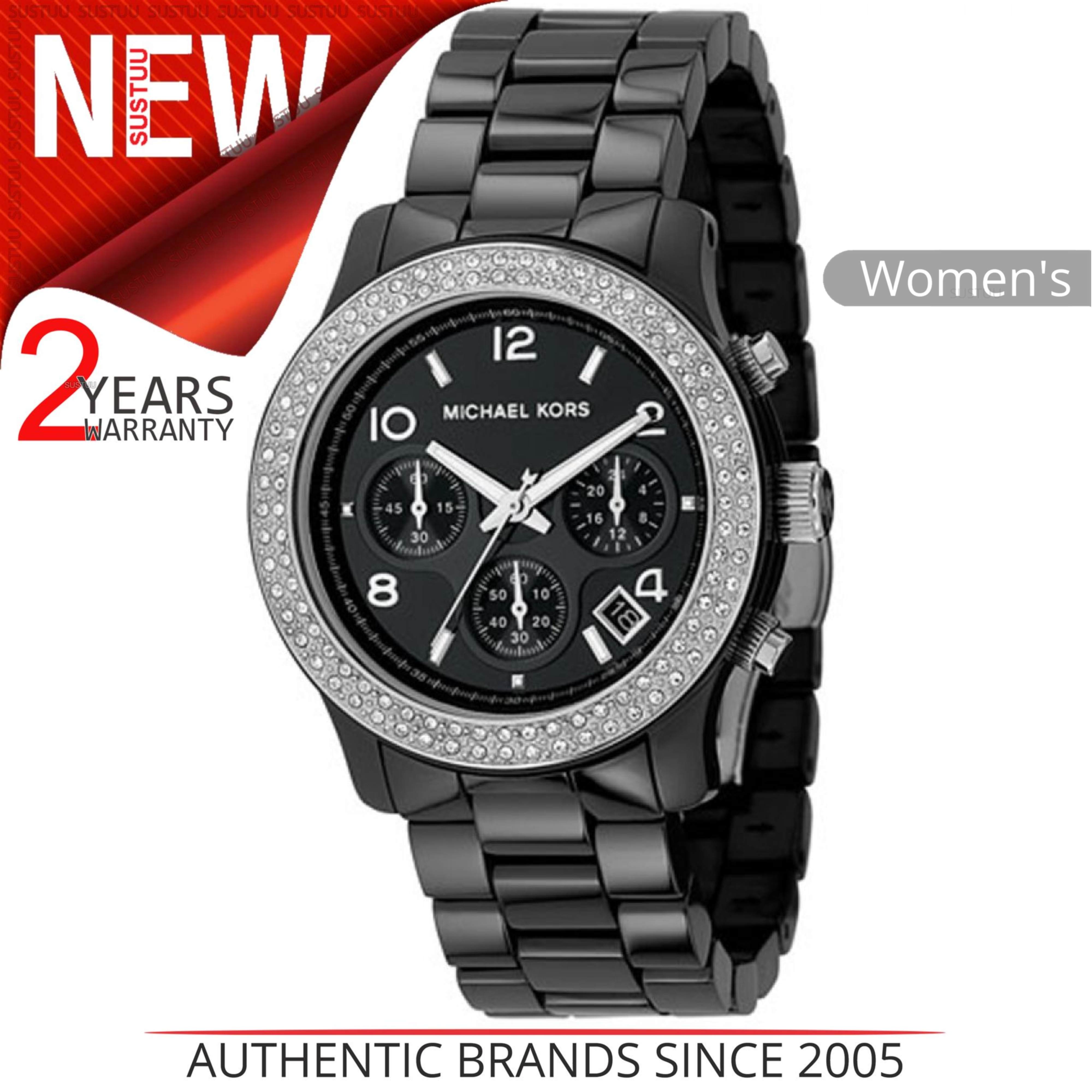 Michael Kors Ladies' Black Ceramic Bracelet Round Dial Designer Watch MK5190