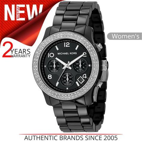 Michael Kors Ladies' Black Ceramic Bracelet Round Dial Designer Watch MK5190 Thumbnail 1