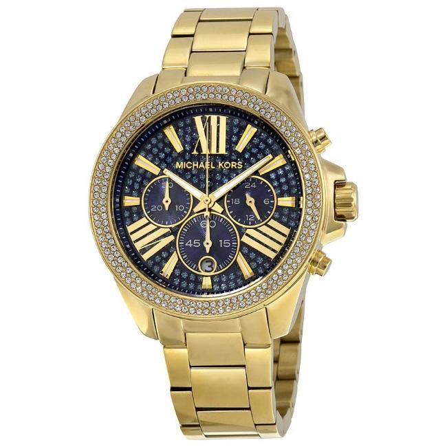 Michael Kors Ladies Wren Pave Blue Face Gold Tone Chrono Round Dial Watch MK6291