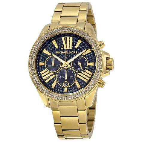Michael Kors Ladies Wren Pave Blue Face Gold Tone Chrono Round Dial Watch MK6291 Thumbnail 1