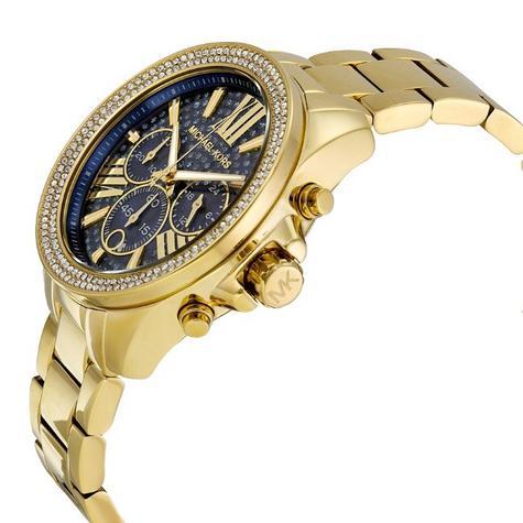 Michael Kors Ladies Wren Pave Blue Face Gold Tone Chrono Round Dial Watch MK6291 Thumbnail 2