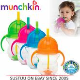 Munchkin Click Lock Tip & Sip Straw Cup Non-Spil BabyTrainer Mug in Pink/Blue/Or
