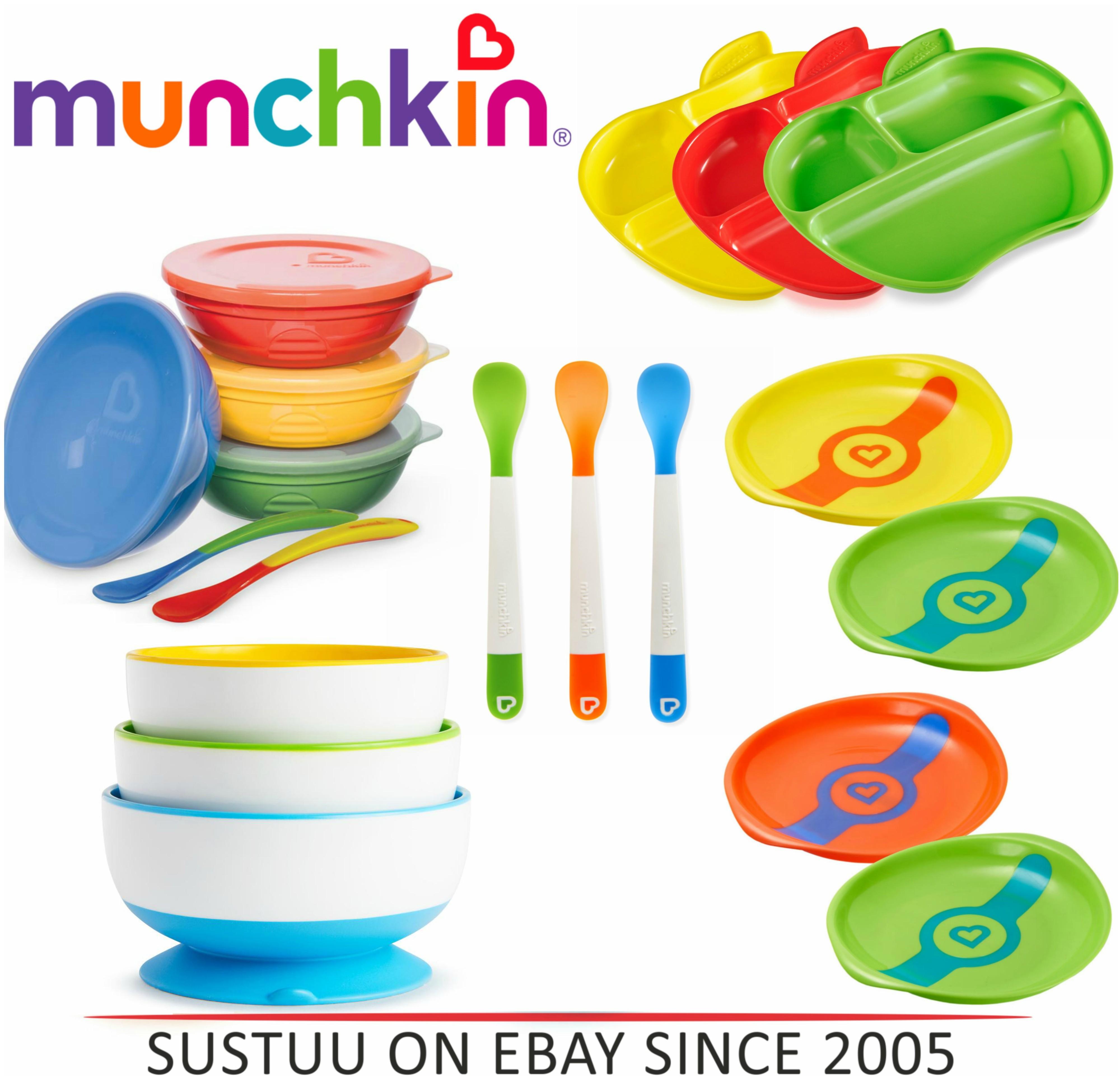 Munchkin Self-Feeding Toddler Bowls/ Heat Sensor Plates/ Feeding Spoon