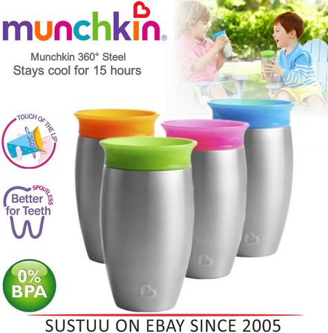 Munchkin Miracle 360° Stainless Steel Sippy Cup?296ml?12m+ Baby?Stays Cool 15hr Thumbnail 1