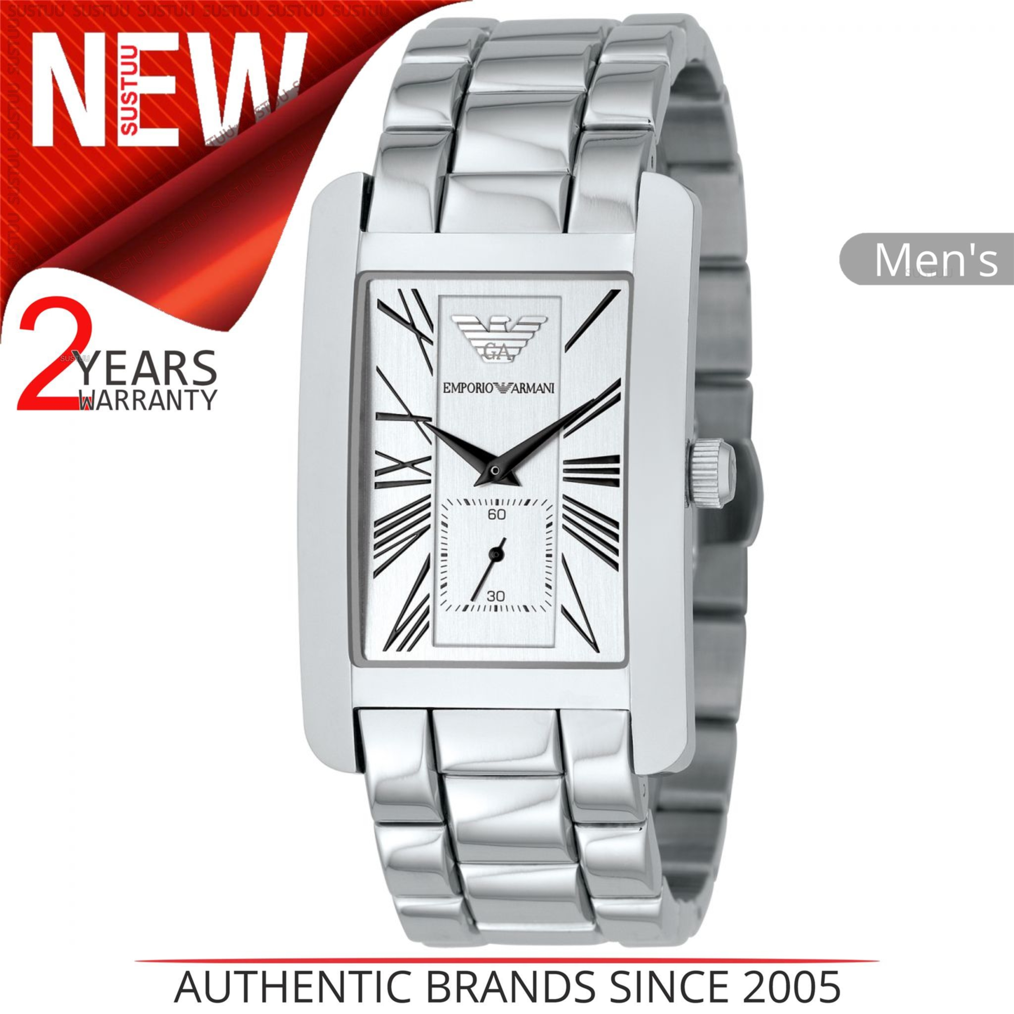 Emporio Armani Classics Men's Watch | Silver Square Dial | Stainless Steel | AR0145