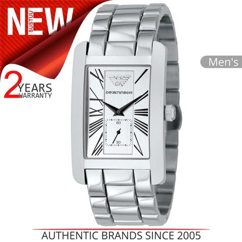 Emporio Armani Classics Men's Watch | Silver Square Dial | Stainless Steel | AR0145 Thumbnail 1