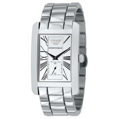 Emporio Armani Classics Men's Watch | Silver Square Dial | Stainless Steel | AR0145 Thumbnail 2