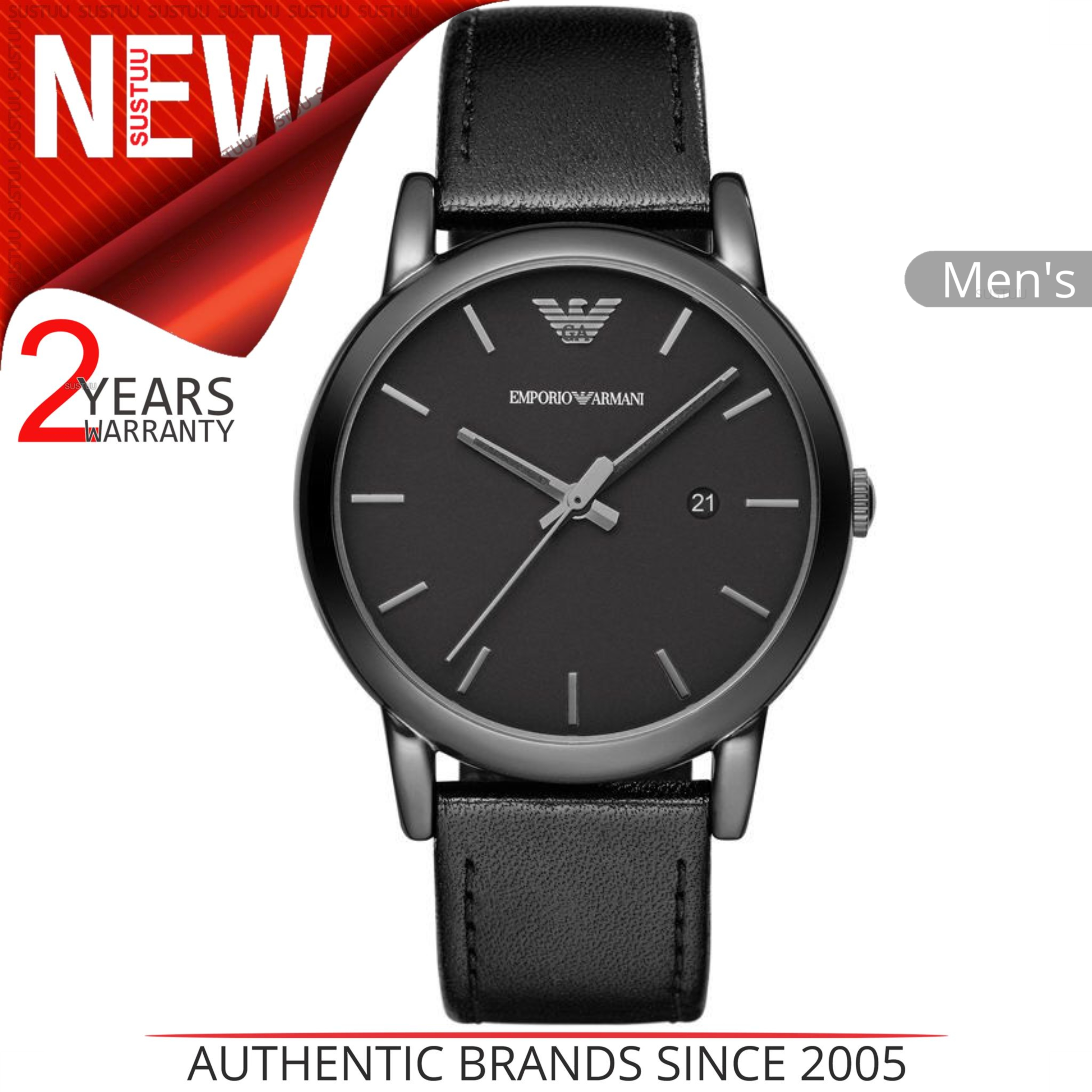 Emporio Armani Classic Mens Watch Black Ion Plated Round Dial Leather Strap 1732