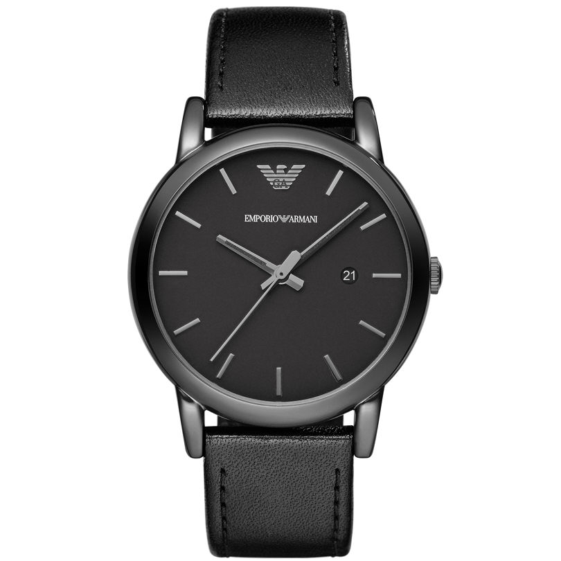 Emporio Armani Classic Gent's All Black Ion Plated Steel Round Dial Watch AR1732