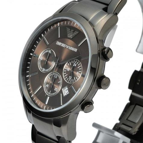 Emporio Armani Classic Gent's Chronograph Gunmetal Tone Bracelet Watch AR2454 Thumbnail 3