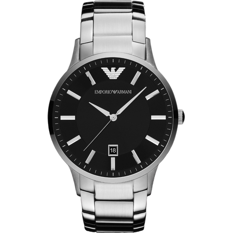 Emporio Armani Gent's Black Dial Stainless Steel Classic Sportivo Watch AR2457