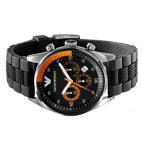 Emporio Armani Gent's Chronograph Black Stainless Steel Sports Watch AR5878 Thumbnail 3