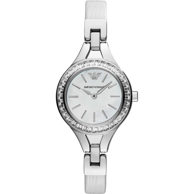 Emporio Armani Ladies' Petite Mother of Pearl Round Dial Bracelet Watch AR7353