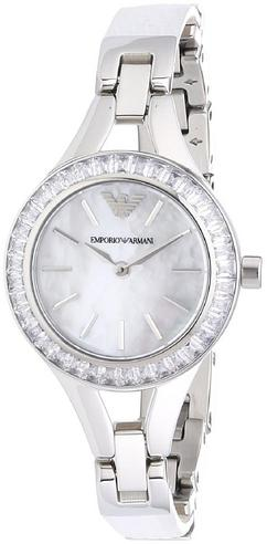 Emporio Armani Ladies' Petite Mother of Pearl Round Dial Bracelet Watch AR7353 Thumbnail 3