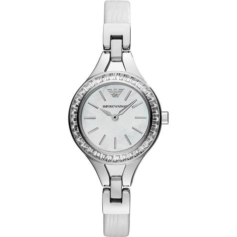 Emporio Armani Ladies' Petite Mother of Pearl Round Dial Bracelet Watch AR7353 Thumbnail 1