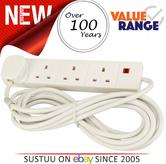 4 Way 2 Metre 13A 250V AC Mains Extension Lead Quad Socket Electric Power Cable