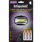 Infapower 3 Watt COB LED Head Torch With IP44 Rating | 90° Vertical Head | F037 | NEW