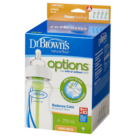 Dr Brown's New Improved Baby Options Milk Formula 270ml Feeding Bottle 4 Pack Thumbnail 2