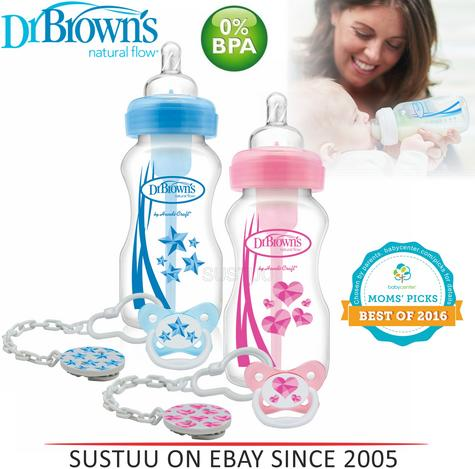 Dr Brown's New Improved Baby Options Milk Formula 270ml Bottle With Soother Pink Thumbnail 1
