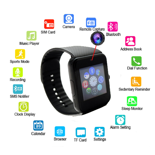 """NEW Bluetooth Smart Android Watch with 2G & Camera 1.54"""" TFT Touchscreen Screen"""