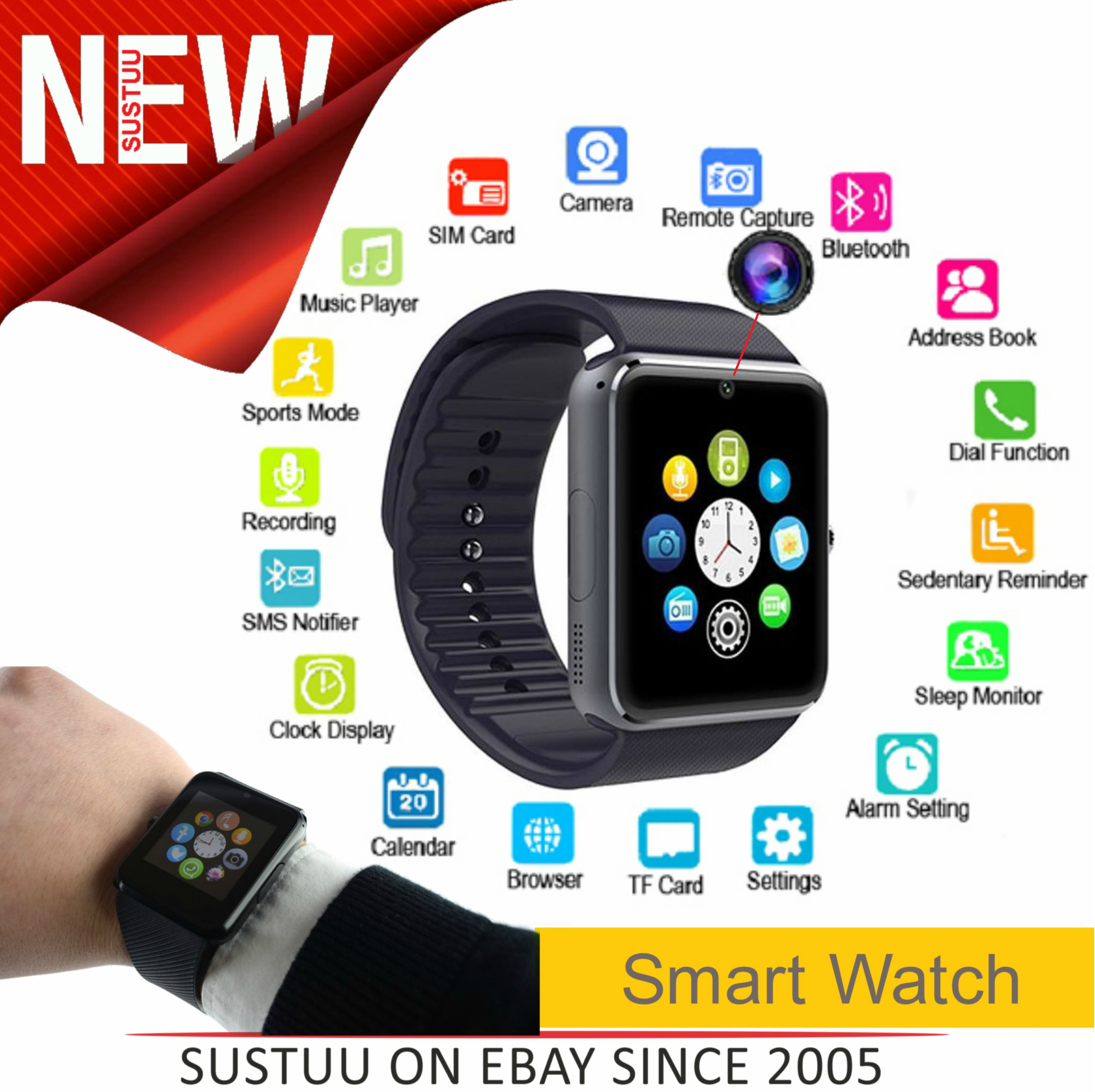 Smart Watch with Camera|Bluetooth|Calling|Touchscreen|Step Tracker|Android & iOS