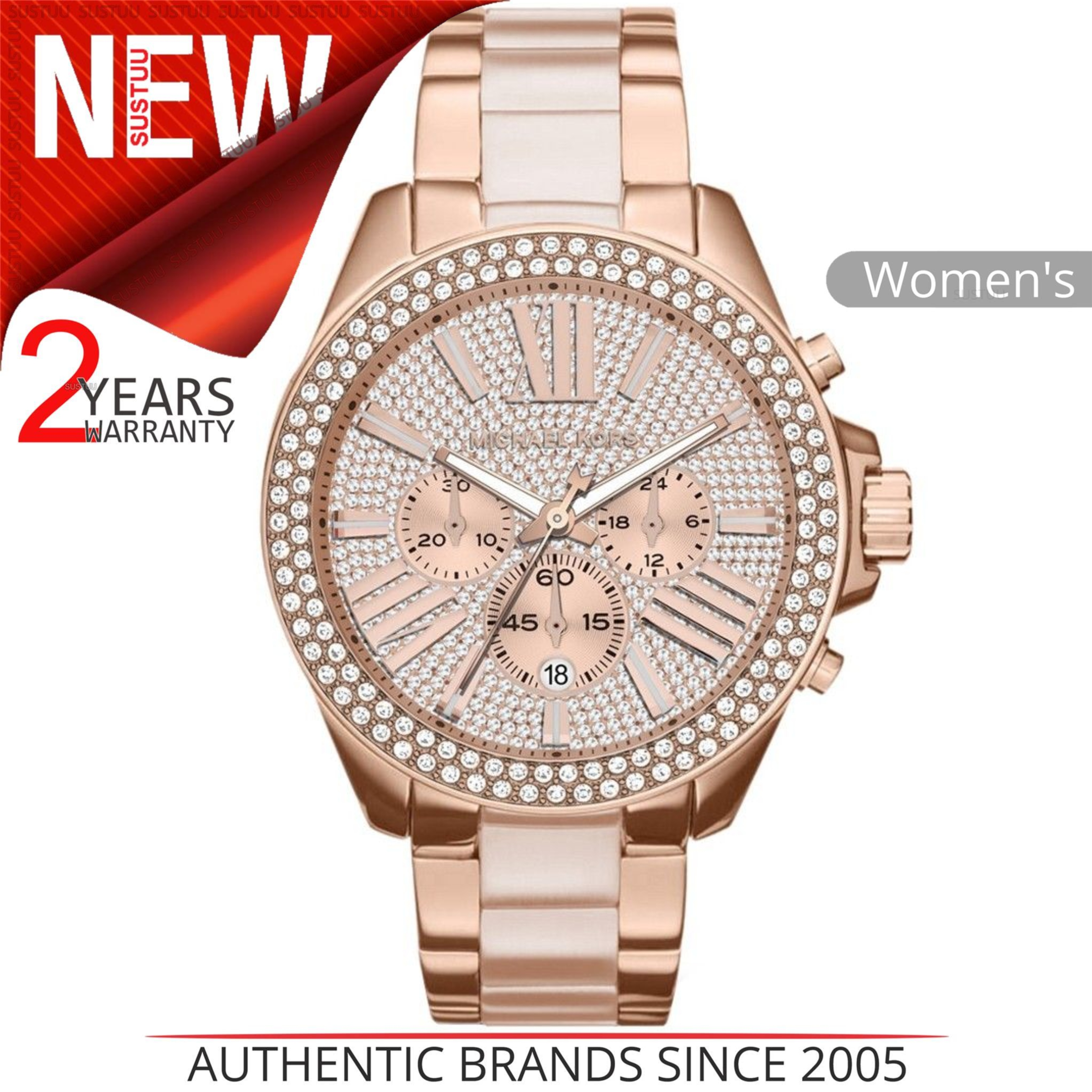 Michael Kors Wren Ladies Watch|Pavé Crystal Rose Gold Dial|Bracelet Band|MK6096