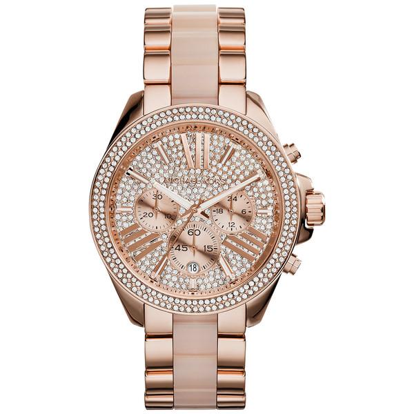 Michael Kors Ladies' Wren Pavé Crystals Rose Gold Tone Round Dial Watch MK6096