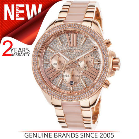 Michael Kors Ladies' Wren Pavé Crystals Rose Gold Tone Round Dial Watch MK6096 Thumbnail 1