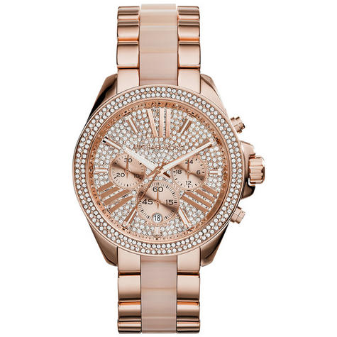 Michael Kors Ladies' Wren Pavé Crystals Rose Gold Tone Round Dial Watch MK6096 Thumbnail 2