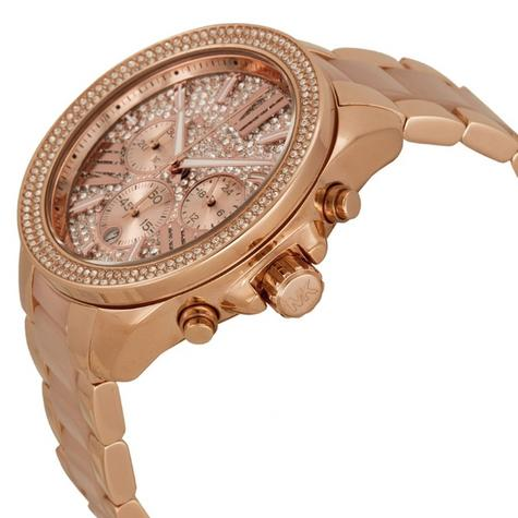 Michael Kors Ladies' Wren Pavé Crystals Rose Gold Tone Round Dial Watch MK6096 Thumbnail 3