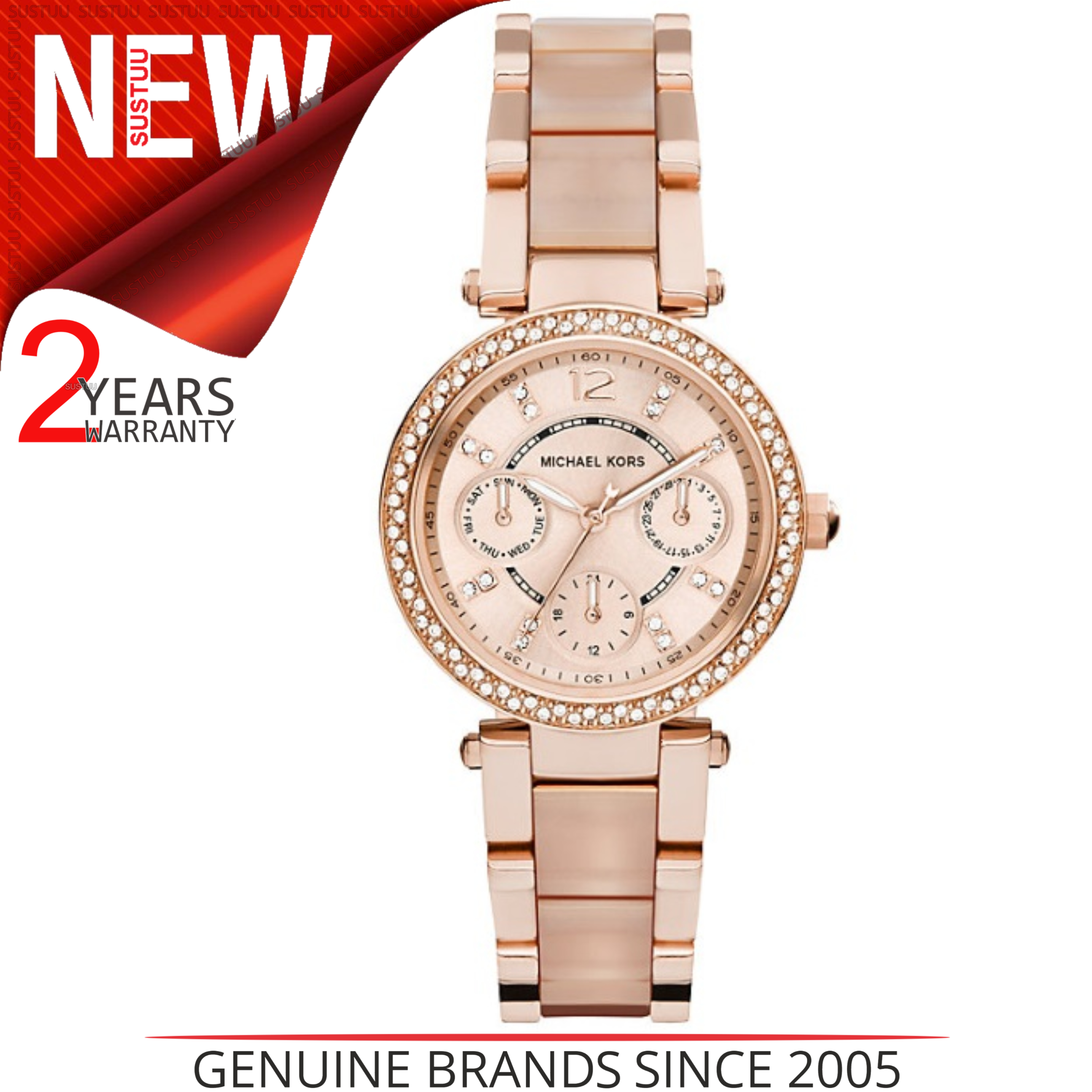 5fbffc9d2d60 Details about Michael Kors Mini Parker Ladies  Rose Gold Bracelet Design  Round Watch MK6110