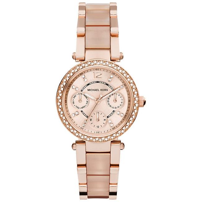 Michael Kors Mini Parker Ladies' Rose Gold Bracelet Design Round Watch MK6110