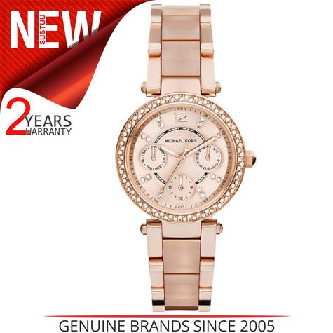 Michael Kors Mini Parker Ladies' Rose Gold Bracelet Design Round Watch MK6110 Thumbnail 1
