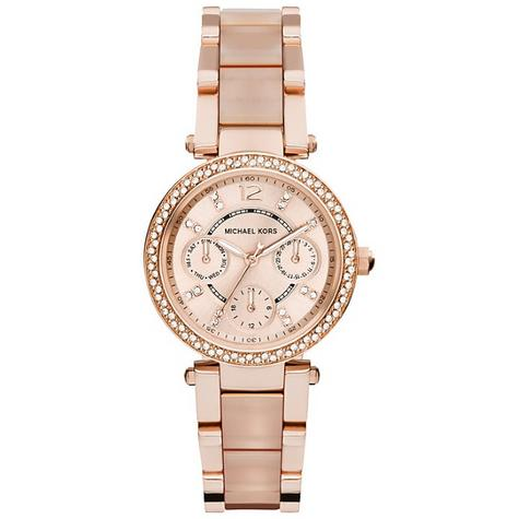 Michael Kors Mini Parker Ladies' Rose Gold Bracelet Design Round Watch MK6110 Thumbnail 2