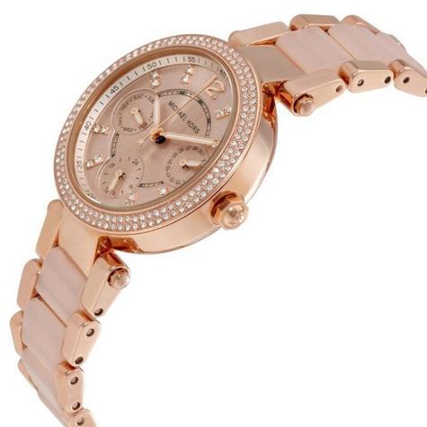 Michael Kors Mini Parker Ladies' Rose Gold Bracelet Design Round Watch MK6110 Thumbnail 4