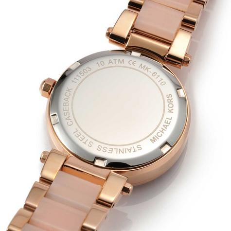 Michael Kors Mini Parker Ladies' Rose Gold Bracelet Design Round Watch MK6110 Thumbnail 5