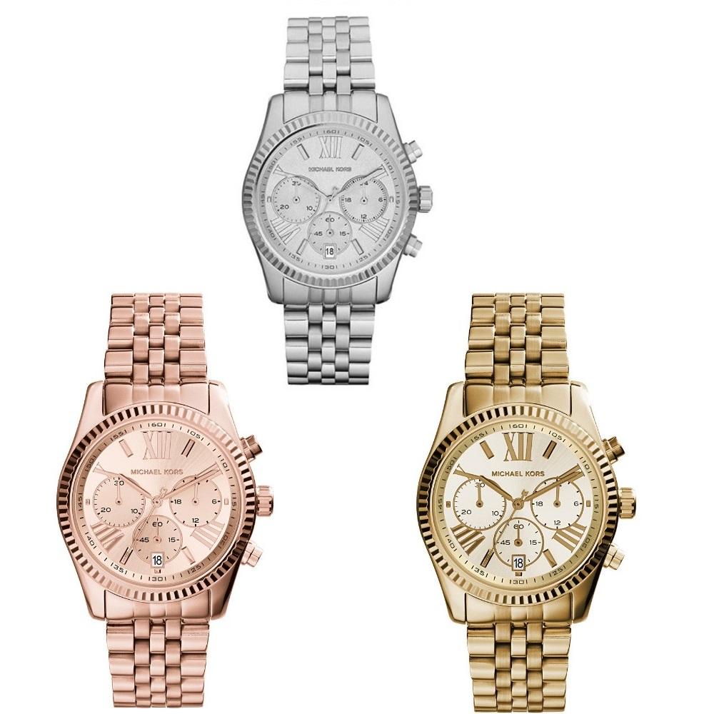 Michael Kors Ladies' Lexington Stainless Steel Chronograph Designer Watch