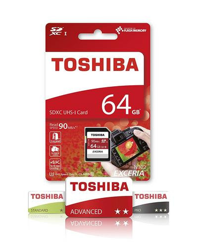 Toshiba Exceria 64GB MCL Micro SD Memory Card with Adaptor?90 MB/s?4K Compatible Thumbnail 2