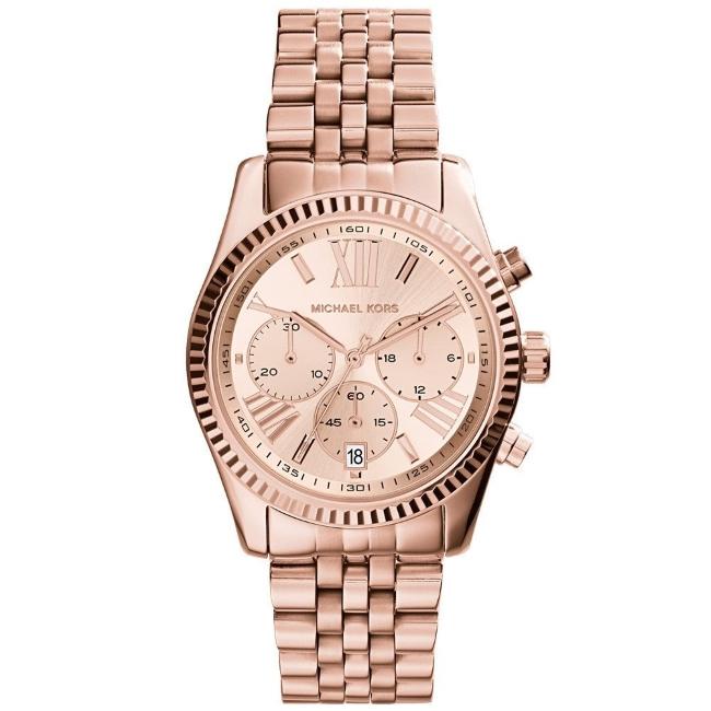 Michael Kors Ladies Lexington Chronograph Rose Gold Designer Watch MK5569