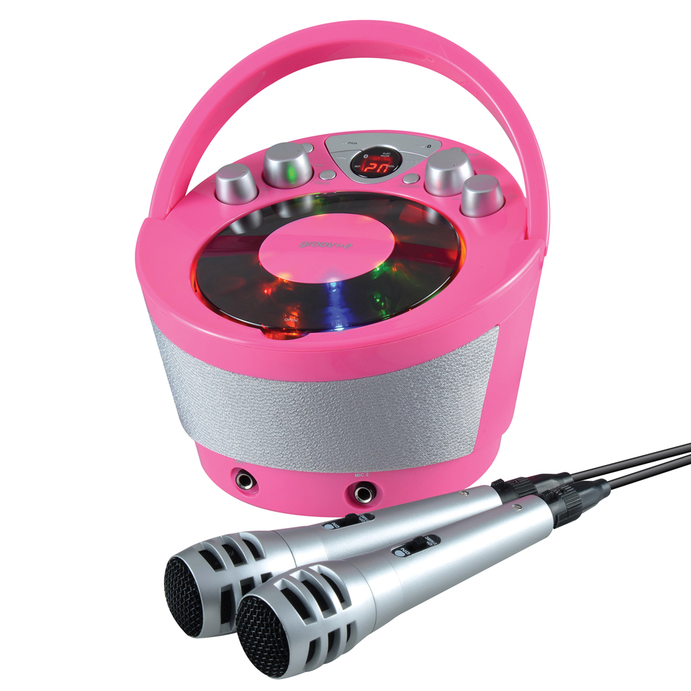 Groov-e GVPS923PK Portable Karaoke Boombox CD Player & Bluetooth Playback Pink