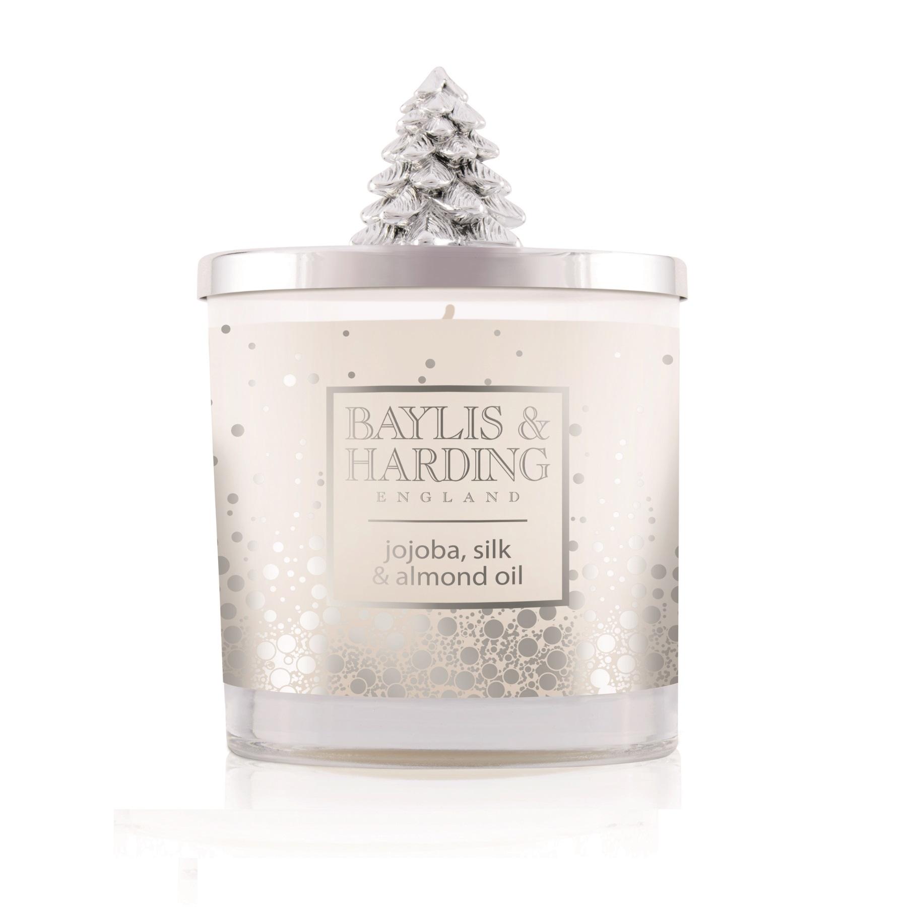 Baylis & Harding Festive candle silver