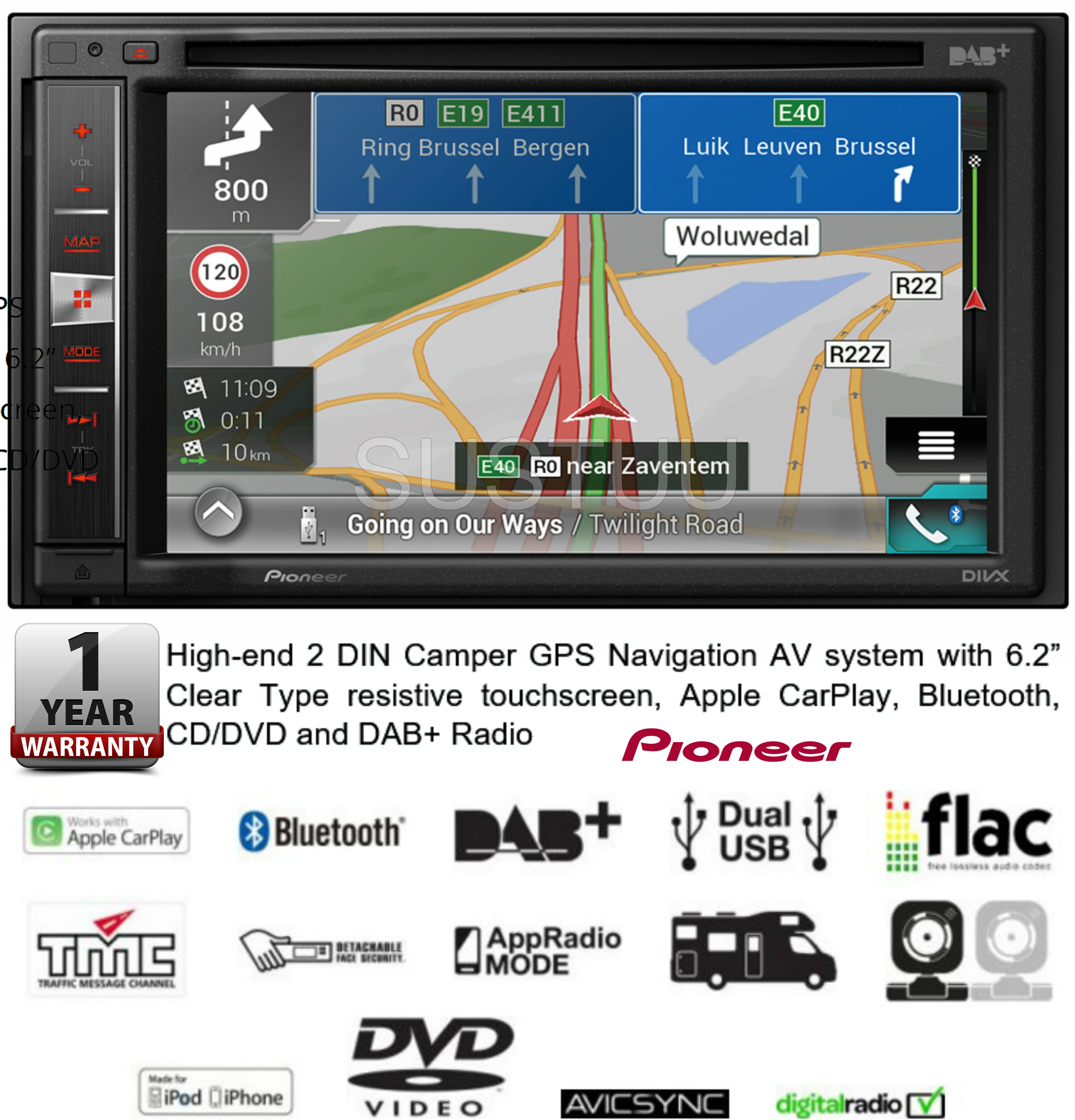 new pioneer avic f980dab c 2 din 6 2 camper gps. Black Bedroom Furniture Sets. Home Design Ideas