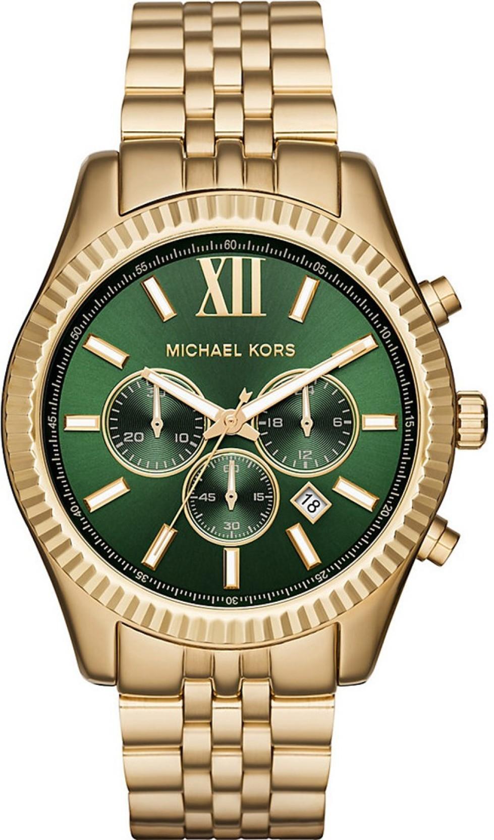 Michael Kors Gent's Lexington Gold Tone Stainless Steel Chronograph Watch-MK8446