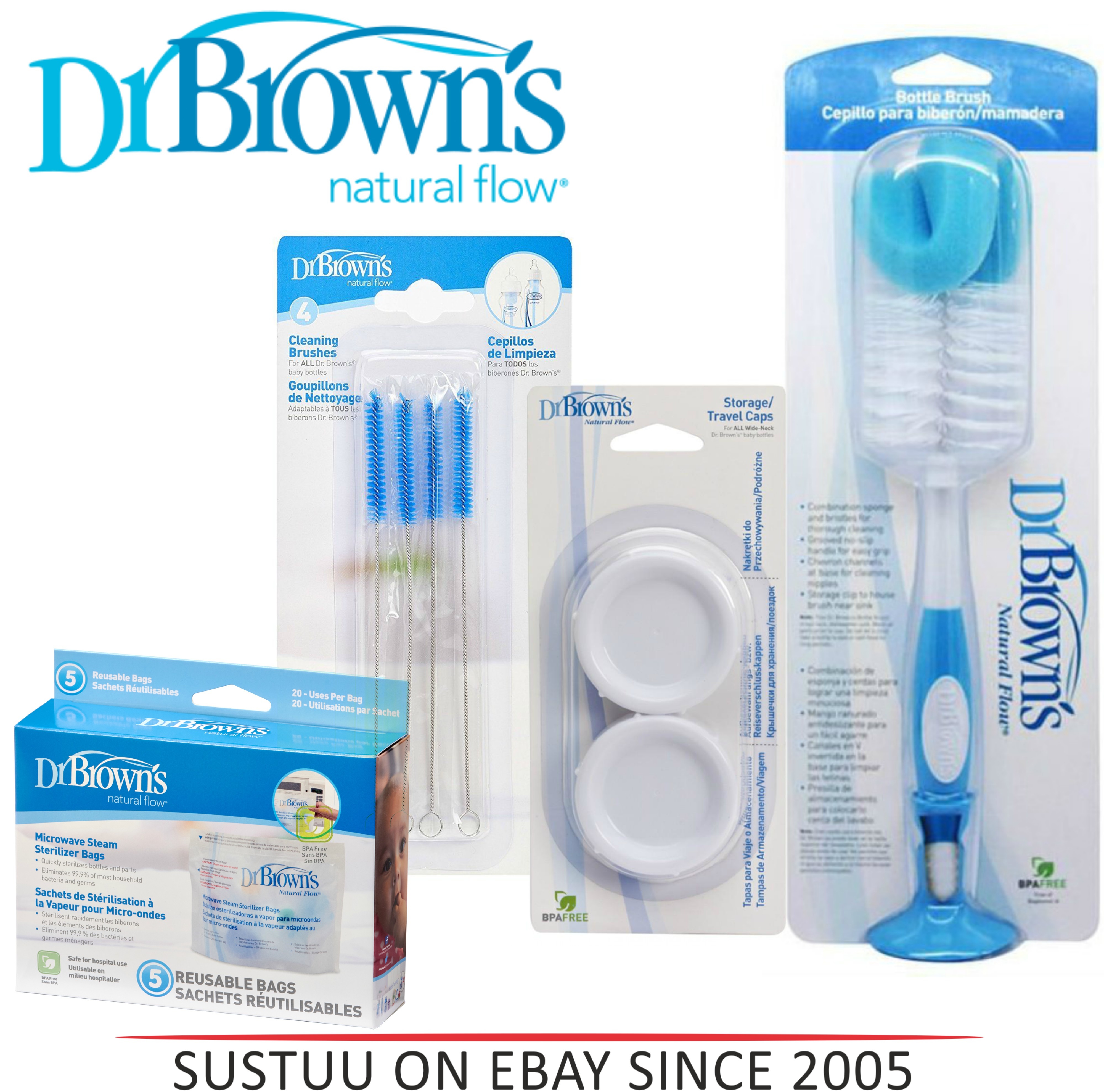 Dr Brown's Sterilizer Baby Cleaning Bottle Brush?Microwave Steam Bag?Teat Brush